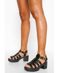 Boohoo Fisherman Cleated Sandals - Black
