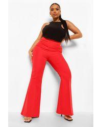 Boohoo Pantalones Entallados Acampanados Plus - Rojo