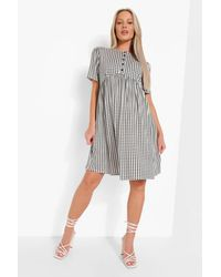 Boohoo Maternity Button Front Gingham Smock Dress - Nero