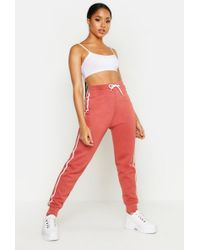 Boohoo Contrast Side Panel Sweat Joggers - Red