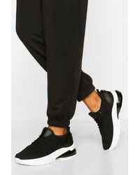 Boohoo Bubble Sole Knitted Sports Trainers - Black