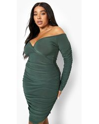 Boohoo - Plus Slinky Twist Front Ruched Bodycon Dress - Lyst