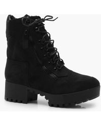 Boohoo Chunky Zip And Lace Up Combat Boots - Black