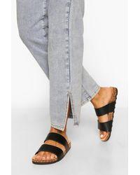 Boohoo Double Strap Footbed Sandal - Black