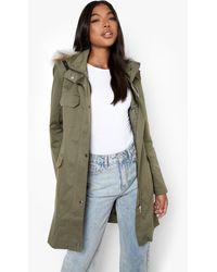 Boohoo Tall Pocket Detail Faux Fur Trim Hooded Parka - Green