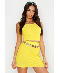 Boohoo Racer Strap Bralet And Mini Skirt Two-piece - Yellow