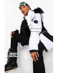 Boohoo Plus Luxe Colour Block Ski Jacket - White