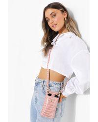 Boohoo Croc Pu Phone Holder Bag - Pink