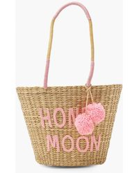 Boohoo Honey Moon Pom Pom Large Straw Beach Bag - Pink