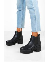 Boohoo Chunky Platform Cleated Chelsea Boots - Black