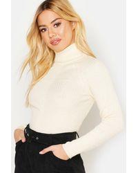 Boohoo Womens Petite Rib Knit Roll Neck Sweater - White
