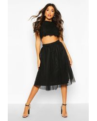 Boohoo Woven Lace Top & Two-piece Set - Black