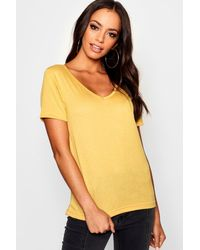 Boohoo Womens Basic Super Soft V Neck T-shirt - Yellow