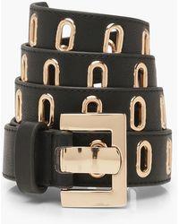 Boohoo Gold Buckle Waist Belt - Black