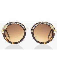 Boohoo - Mia Tortoiseshell Diamante Round Sunglasses - Lyst