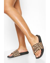Boohoo Leopard Print Woman Slides - Black