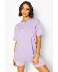 Boohoo 'honey' Slogan Washed Tee - Purple