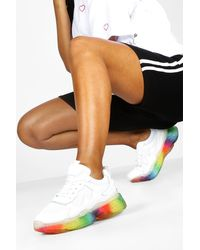 Boohoo Translucent Rainbow Sole Chunky Trainers - White