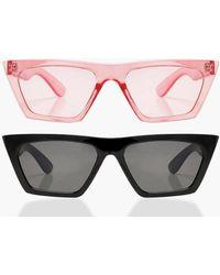 Boohoo - Erin 2 Pack Flat Top Slim Cat Eye Sunglasses - Lyst