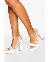 Boohoo Womens Three Strap Block Heel Platform 2 Parts - White