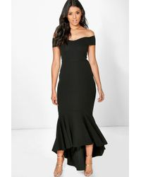 Boohoo - Boutique Open Shoulder Fishtail Maxi Dress - Lyst
