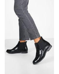 Boohoo Patent Croc Chelsea Boots - Black