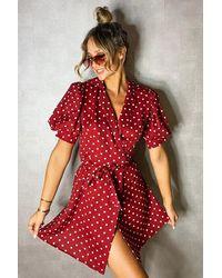 Boohoo Womens Gepunktetes Wickelkleid Mit Puffärmeln - Rot