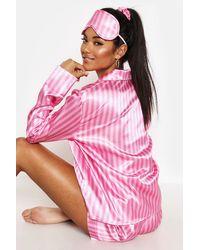 Boohoo Womens 3-Teiliges Gestreiftes Pyjama-Set - Pink
