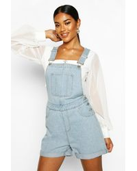 Boohoo - Denim Overall Shorts - Lyst