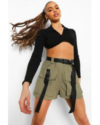 Boohoo Belted Utility Cargo Shorts - Green