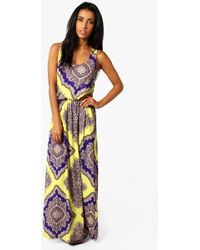 Boohoo - Rosie Neon Paisley Racer Back Maxi Dress - Lyst