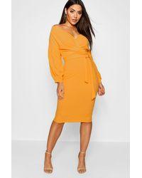 Boohoo Womens Off The Shoulder Wrap Midi Bodycon Dress - Orange