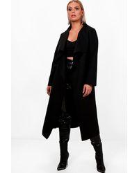 Boohoo Plus Wool Look Coat - Black