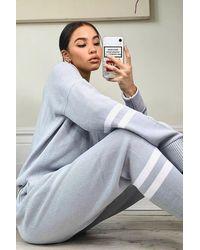 Boohoo Stripe Knitted Lounge Set - Grey