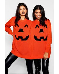 Boohoo Halloween Pumpkin Twin Jumper - Orange