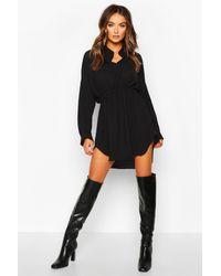 Boohoo - Woven Shirred Waist Shirt Dress - Lyst