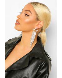 Boohoo Diamante Statement Star Earrings - Grigio