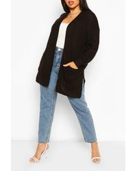 Boohoo Plus Fisherman Rib Oversized Boyfriend Cardigan - Nero