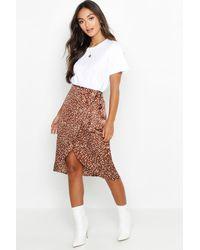 Boohoo Petite Printed Satin Wrap Skirt - Brown