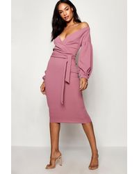 Boohoo Tall Off The Shoulder Wrap Midi Bodycon Dress - Pink