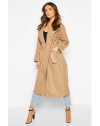 Boohoo Oversized Robe Belted Coat - Natural