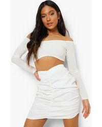 Boohoo Petite Ruched Front Mini Skirt - Bianco