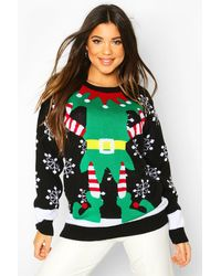 Boohoo Mrs Elf Christmas Sweater Dress - Black