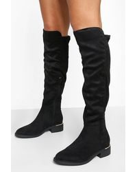 Boohoo Over The Knee Panel Detail Boots - Black