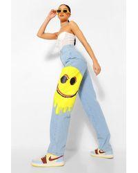 Boohoo Smiley Print Baggy Boyfriend Jeans - Blu