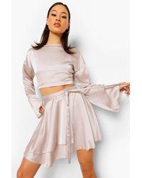 Boohoo Flute Sleeve Blouse & Tie Waist Skirt - Multicolour