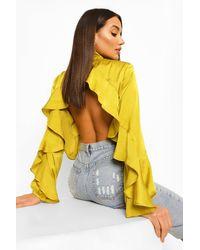 Boohoo Blusa Con Cuello Alto Y Borde De Volantes - Amarillo