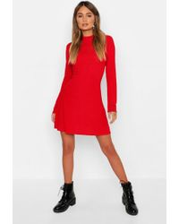 e8e092c306a Lyst - Boohoo Scoop Neck Long Sleeve Swing Dress in Red