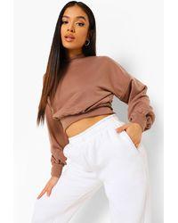 Boohoo Petite Balloon Sleeve Sweatshirt - Brown