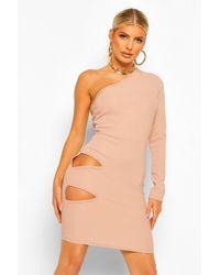 Boohoo Bandage Rib One Shoulder Cut Out Waist Mini Dress - Neutro